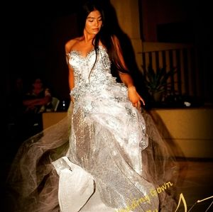 MELODY Silver & White Corset Wedding Gown Set